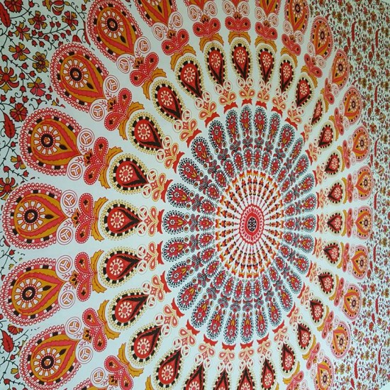 White / Orange - Peacock Mandala - Wall Hanging / Tapestry / Throw / Bed sheet