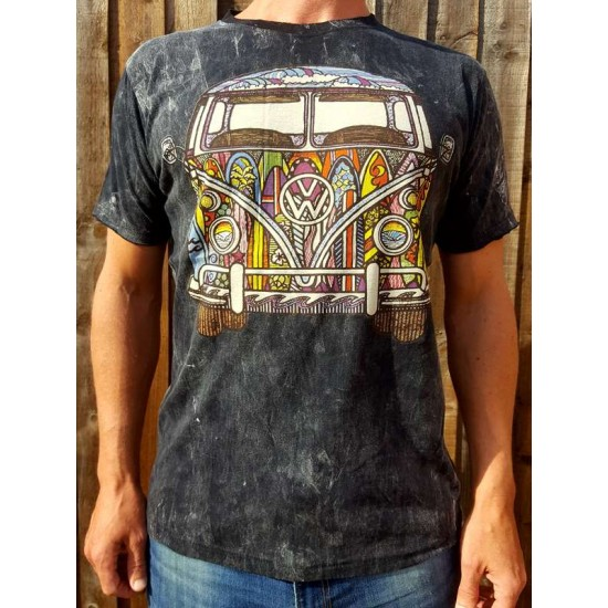 VW SURF CAMPER - No Time - 100% Premium cotton - T shirt  - Black