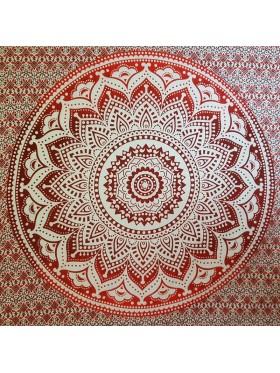 Red-White-Lotus flower-100% cotton-Wall Hanging-Tapestry-Throw-Bed sheet-Tapestries-Fair Trade
