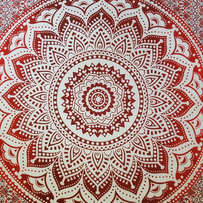 Red White Lotus Flower Wall Hanging Tapestry Throw Bed0010