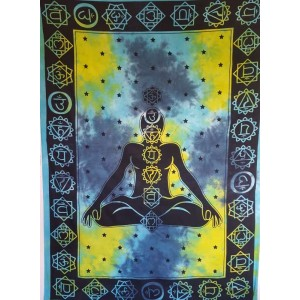 Blue-Green - Chakras - Tie Dye - Wall Hanging-Tapestry-Throw- Single - Double-Queen - Bed Sheet - Fair Trade