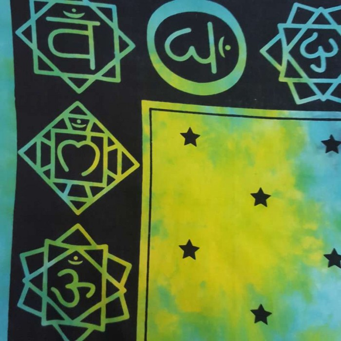 Blue-Green - Chakras - Tie Dye - Wall Hanging-Tapestry-Throw- Single ...
