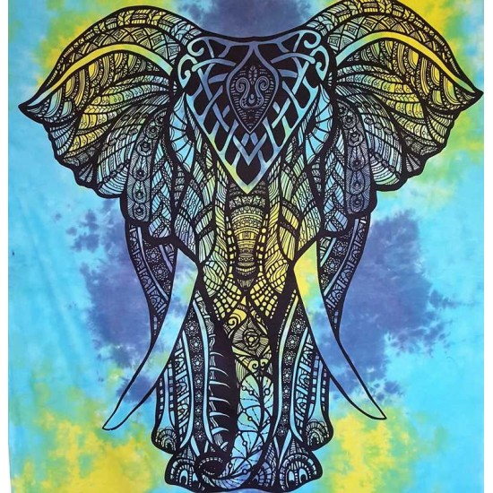 Blue - Elephant - Tie Dye - 100% Cotton- Wall Hanging - Tapestry -Throw -Bed Sheet