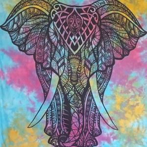 Blue - Purple - Elephant - Tie Dye - 100% Cotton- Wall Hanging - Tapestry -Throw -Bed Sheet