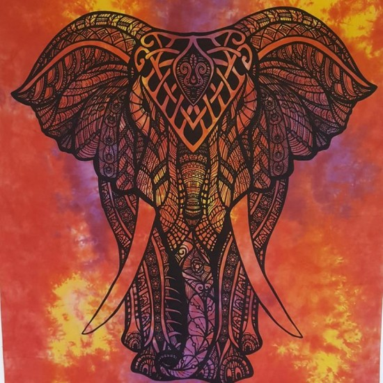 Orange-Tie Dye-Elephant-Tapestry-Wall Hanging-Throw-Bed Sheet-Fair Trade-100% cotton-Tapestries