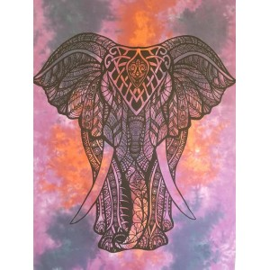 Purple-Tie Dye-Elephant-Wall Hanging-Throw-Tapestry-Bed Sheet-Fair Trade-100% cotton