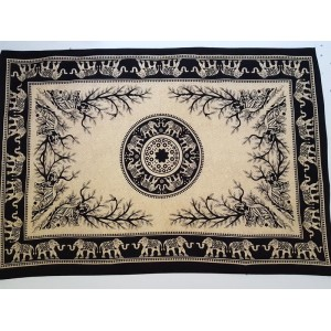 Black - Cream - Elephant  - Tiger -  Mandala - Wall Hanging / Tapestry / Throw / Bed sheet 100% Cotton - Single - Double