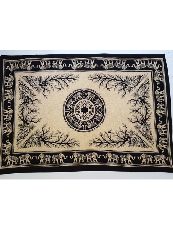 Black-Cream-Elephant-Tiger-Mandala-Wall Hanging-Tapestry-Throw-Bed sheet-100% Cotton-Single-Double-Fair Trade