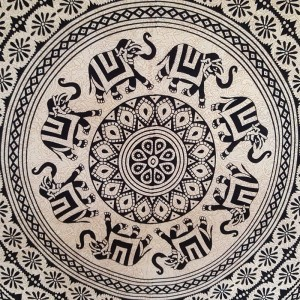 Black / Cream - Elephant Flower Mandala - Wall Hanging / Tapestry / Throw / Bed sheet