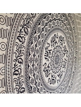 Black-Cream-Elephant-lower-Mandala-Wall Hanging-Tapestry-Throw-Bed sheet-Fair Trade-100% Cotton