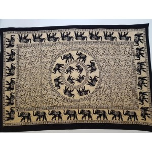 Black / Cream - Elephant Mandala - Wall Hanging / Tapestry / Throw / Bed sheet