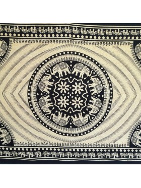 Black-Cream-Elephant-Eye-Mandala-Wall Hanging-Tapestry-Throw-Bed sheet-100% Cotton-Single-Double-Fair Trade