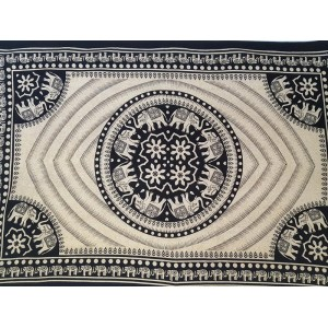 Black - Cream - Elephant - Eye - Mandala - Wall Hanging - Tapestry - Throw - Bed sheet -100% Cotton - Single - Double