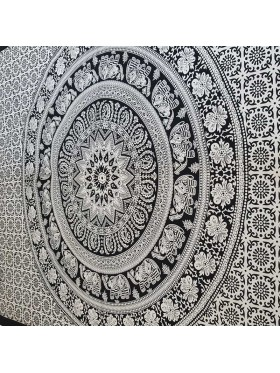 Black-White-Elephant -Flower-Mandala-Tapestry-Wall Hanging-Throw-Bed Sheet-Fair Trade-100% cotton-Tapestries