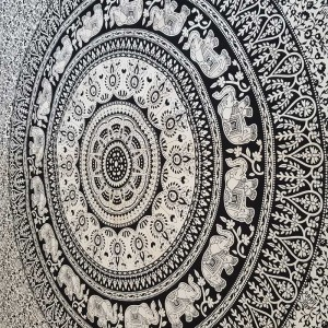Black - White - Elephant  - Mandala - Wall Hanging - Tapestry - Throw - Bed sheet -100% Cotton - Single - Double