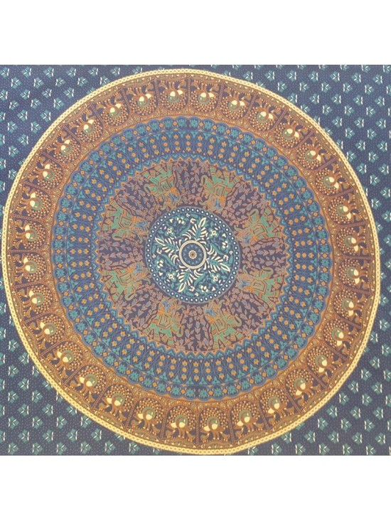 Blue-Turquoise-Elephant-Peacock-Mandala-Wall Hanging-Throw-Tapestry-Bed Sheet-Fair Trade-100% cotton