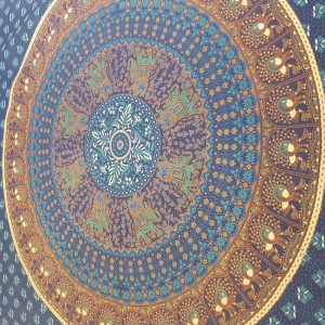 Blue - Turquoise-Elephant - Peacock - Mandala- Wall Hanging -Throw-Tapestry - Bed Sheet