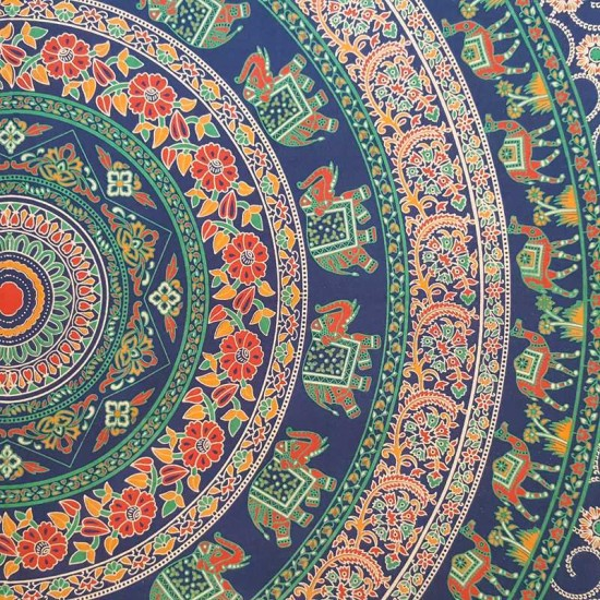Blue (Dark/Navy)- Elephant Camel - Mandala - 100% cotton - Wall Hanging / Tapestry / Throw / Bed sheet