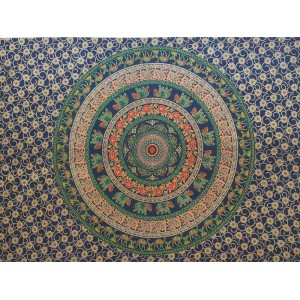 Blue-Navy- Elephant-Camel-Mandala-100% cotton-Wall Hanging-Tapestry-Throw-Bed sheet-Tapestries-Fair Trade