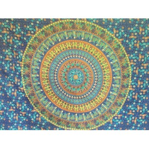 Blue-Turquoise-Camel-Candle-Elephant-Mandala-Wall Hanging-Throw-Tapestry-Bed Sheet-Fair Trade-100% cotton