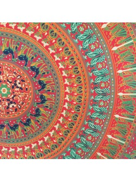 Red-Camel-Candle-Elephant-Mandala-100% cotton-Wall Hanging-Tapestry-Throw-Bed Sheet-Fair Trade