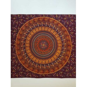 Maroon-Camel-Candle-Elephant - 100% cotton - Wall Hanging-Tapestry-Throw-Bed Sheet