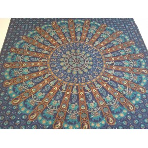 Blue/Turquoise - Mandala - Wall Hanging - Tapestry - Throw - Bed Sheet - Fair Trade