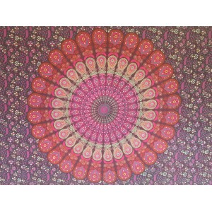 Purple - Peacock Mandala - Wall Hanging / Tapestry / Throw / Bed sheet