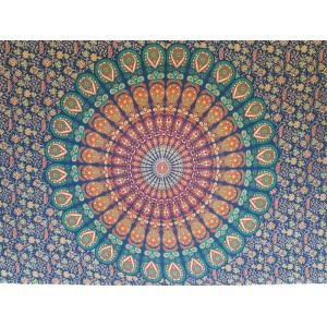 Blue-Peacock-Mandala-Wall Hanging-Throw-Tapestry-Bed Sheet-100% cotton-Fair Trade