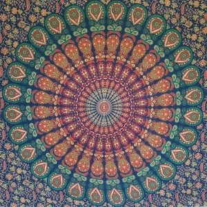 Blue - Peacock Mandala - Wall Hanging/Throw/Tapestry/Bed Sheet
