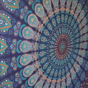 Blue-Turquoise-Peacock-Mandala-Wall Hanging-Throw-Tapestry-Bed Sheet-100% cotton-Fair Trade