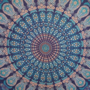 Blue/Turquoise - Peacock Mandala - Wall Hanging/Throw/Tapestry/Bed Sheet