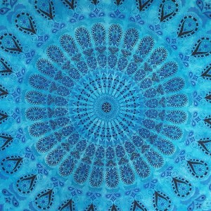 Blue/Turquoise - Peacock Mandala - Wall Hanging / Tapestry / Throw / Bed sheet