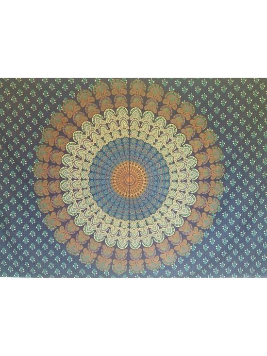 Blue-Turquoise-Mandala-Wall Hanging-Tapestry-Throw-Bed Sheet-Fair Trade-100% cotton