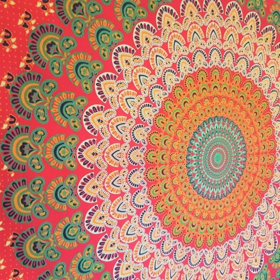 RED - Mandala - Wall Hanging / Table Cloth / Tapestry / Throw / Bed sheet