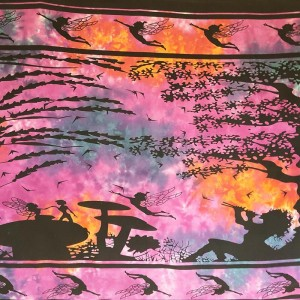 Purple-Pixie-Fairy-Elf-100% cotton-Wall Hanging-Tapestry-Throw-Bed sheet-Tapestries-Fair Trade