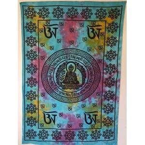 Blue Purple - Tie dye - Tibet Buddha - 100% Cotton -  Wall Hanging-Tapestry-Throw - Bed sheet
