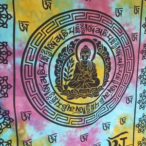 Blue - Purple - Buddha  - Tibet - Mandala - 100% Cotton -  Wall Hanging - Tapestry - Throw - Bed sheet
