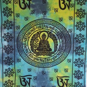 Blue - Buddha - Tibet - Mandala - Wall Hanging-Tapestry-Throw-Bed Sheet  - 100% Cotton