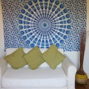 White / Blue - Peacock Mandala - Wall Hanging / Tapestry / Throw / Bed sheet
