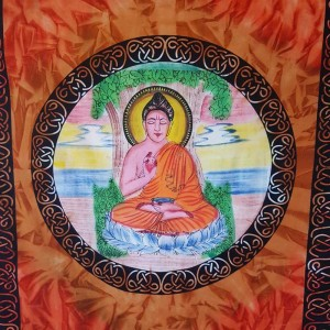 Buddha - Harmony - Wall Hanging-Tapestry-Throw-Bed Sheet -100% Cotton -Tie Dye - Fair Trade