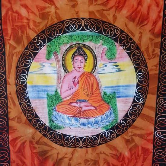 Buddha - Wall Hanging-Tapestry-Throw-Bed Sheet  - 100% Cotton