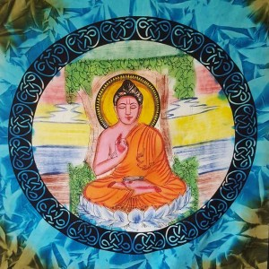 Buddha - Peace - Wall Hanging-Tapestry-Throw-Bed Sheet  - 100% Cotton -Tie Dye