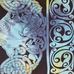 Blue - Black - Celtic - Tree of Life - 100% cotton - Wall Hanging-Tapestry-Throw - Bed Sheet