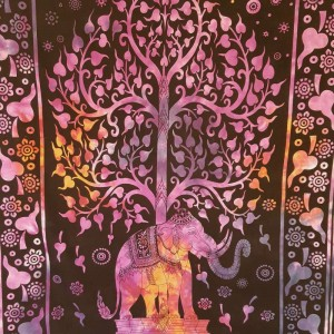 Purple - Tree of Life - Elephant -  Wall Hanging-Tapestry-Throw - Bed Sheet - 100% cotton - Tapestries