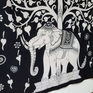 Black - White - Tree of Life - Elephant - Wall Hanging-Tapestry-Throw  - 100% cotton - Tapestries