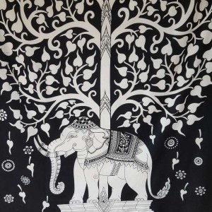 Black-White-Tree of Life-Elephant-Wall Hanging-Tapestry-Throw-100% cotton-Tapestries-Fair Trade