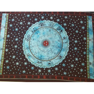 Blue - Turquoise - Black - Horoscope - Zodiac - Wall hanging -Tapestry - Bed Sheet - Throw - 100% Cotton