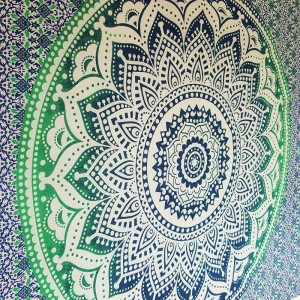 Blue / Green White - Lotus flower - Wall Hanging-Tapestry-Throw