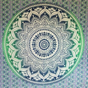 Blue Green White - Lotus flower - Wall Hanging-Tapestry-Throw